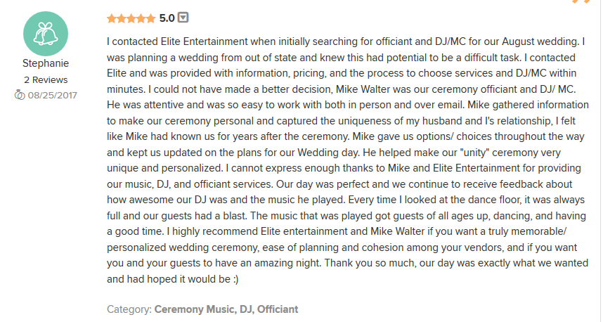 EliteEntertainment_WeddingWireReview_NJWedding_MikeWalter