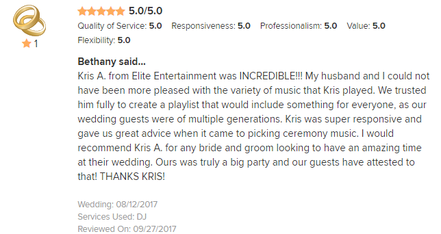 EliteEntertainment_WeddingWireReview_NJWedding_KrisA 2017 8-12-17