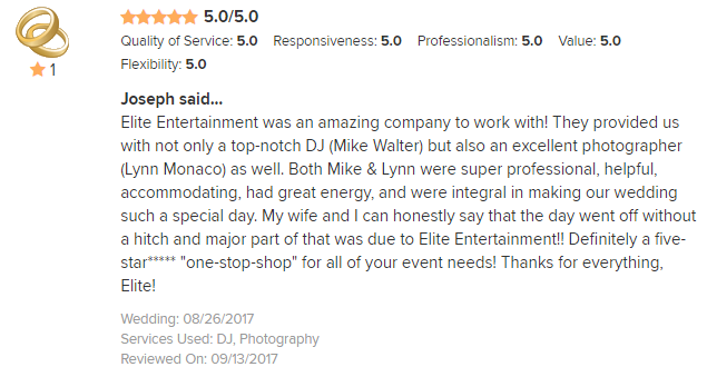 EliteEntertainment_WeddingWireReview_NJWedding_MikeWalter&LynnMonaco 2017 8-26-17