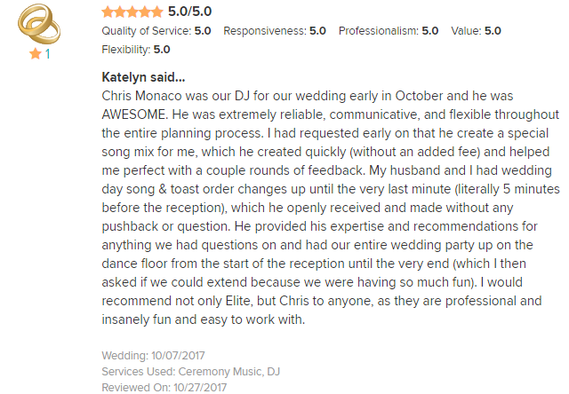 EliteEntertainment_WeddingWireReview_NJWedding_ChrisMonaco 2017 10-7-17
