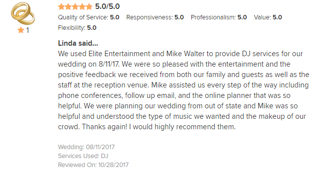 EliteEntertainment_WeddingWireReview_NJWedding_MikeWalter 2017 8-11-17