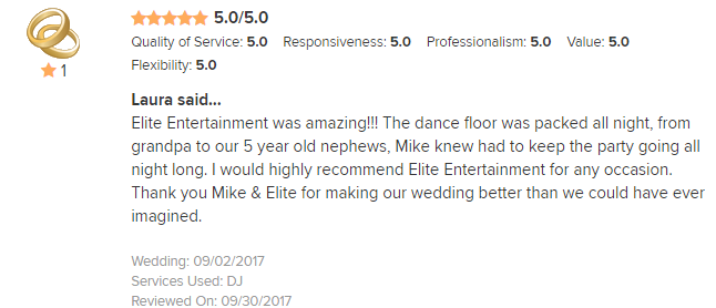EliteEntertainment_WeddingWireReview_NJWedding_MikeWalter 2017 9-2-17