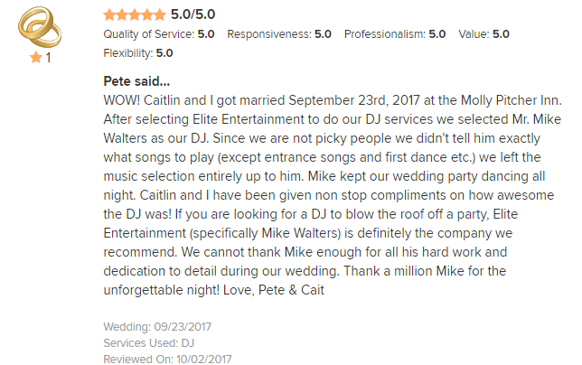 EliteEntertainment_WeddingWireReview_NJWedding_MikeWalter 2017 9-23-17