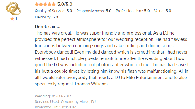 EliteEntertainment_WeddingWireReview_NJWedding_ThomasWilliams 2nd 2017 9-3-17
