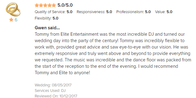 EliteEntertainment_WeddingWireReview_NJWedding_TommyMonaco 2017 8-5-17