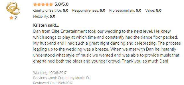 EliteEntertainment_WeddingWireReview_NJWedding_Dan Fumosa 2017 10-6-17