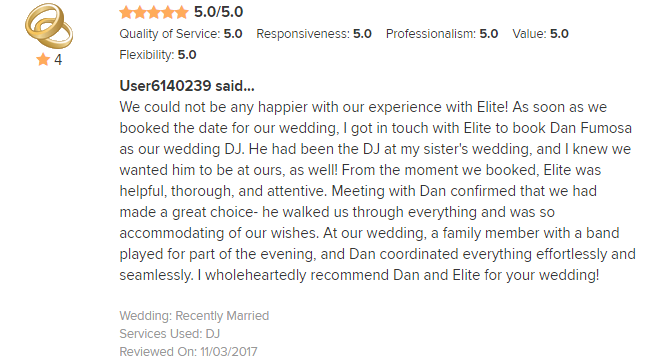 EliteEntertainment_WeddingWireReview_NJWedding_DanFumosa 2017 Reviewed on11-3-17