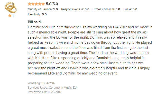 EliteEntertainment_WeddingWireReview_NJWedding_DominicSestito 2017 11-4-17