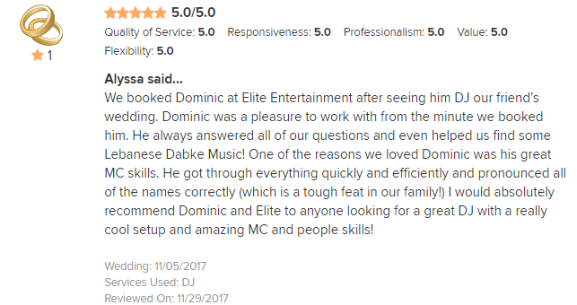 EliteEntertainment_WeddingWireReview_NJWedding_DominicSestito 2017 11-5-17 #2
