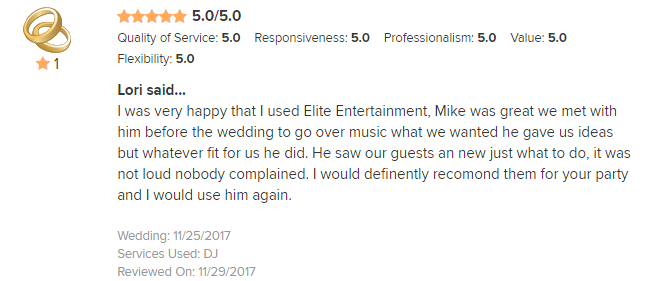 EliteEntertainment_WeddingWireReview_NJWedding_MikeWalter 2017 11-25-17