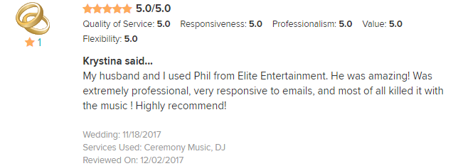 EliteEntertainment_WeddingWireReview_NJWedding_PhilWalsh 2017 11-18-17