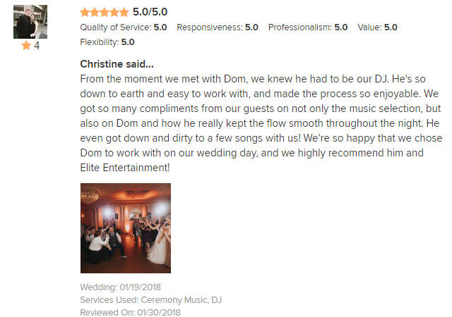 EliteEntertainment_WeddingWireReview_NJWedding_DominicSestito 2018 1-19-18