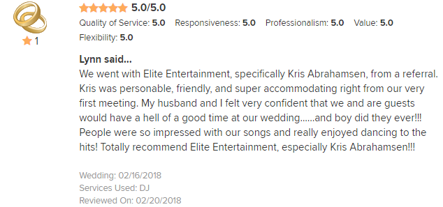 EliteEntertainment_WeddingWireReview_NJWedding_KrisAbrahamson 2018 2-16-18