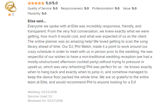 EliteEntertainment_WeddingWireReview_NJWedding_PhilWalsh 2nd 2018 3-23-18