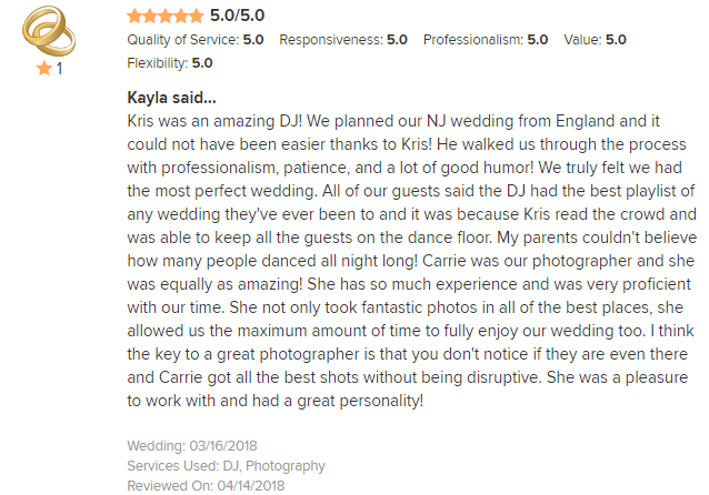 EliteEntertainment_WeddingWireReview_NJWedding_KrisAbrahamson 2018 3-16-18