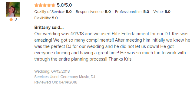 EliteEntertainment_WeddingWireReview_NJWedding_KrisAbrahamson 2018 4-13-18