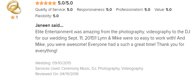 EliteEntertainment_WeddingWireReview_NJWedding_MikeWalter 2015 9-11-18