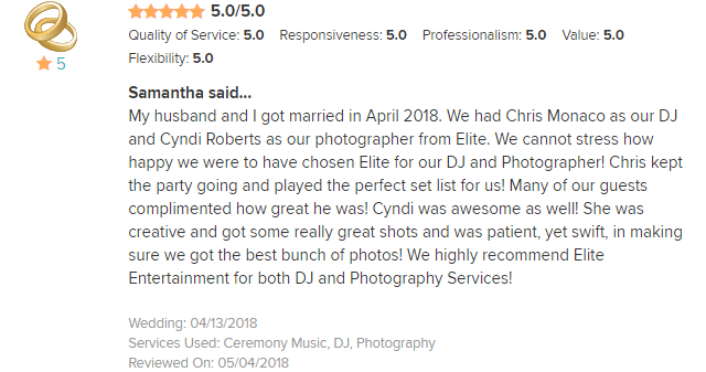 EliteEntertainment_WeddingWireReview_NJWedding_ChrisMonaco and Cyndi 2018 4-13-18