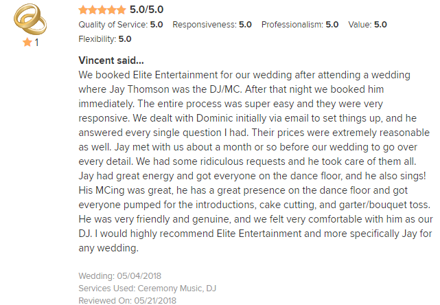 EliteEntertainment_WeddingWireReview_NJWedding_JayThomson 2018 5-4-18