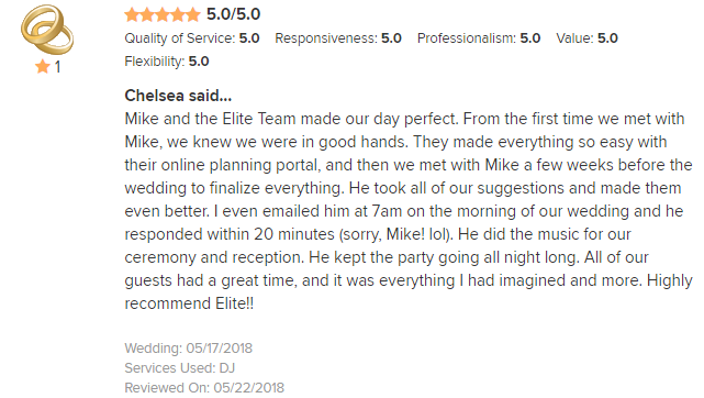 EliteEntertainment_WeddingWireReview_NJWedding_MikeWalter 2018 5-17-18