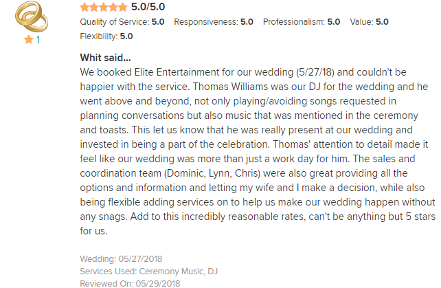 EliteEntertainment_WeddingWireReview_NJWedding_ThomasWilliams 2018 5-27-18