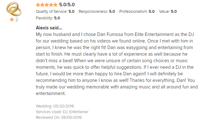 EliteEntertainment_WeddingWireReview_NJWedding_DanFumosa 2018 5-20-18