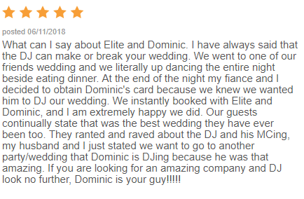 EliteEntertainment_WeddingWireReview_NJWedding_DominicSestito 2018 6-11-18