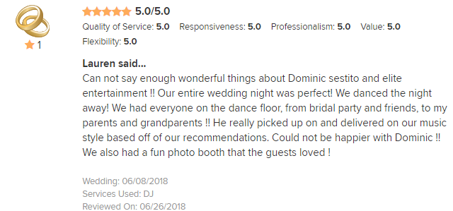 EliteEntertainment_WeddingWireReview_NJWedding_DominicSestito 2018 6-8-18