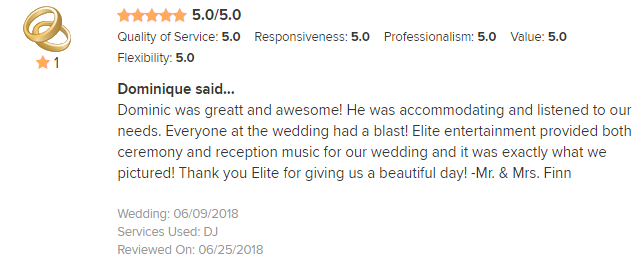 EliteEntertainment_WeddingWireReview_NJWedding_DominicSestito 2018 6-9-18