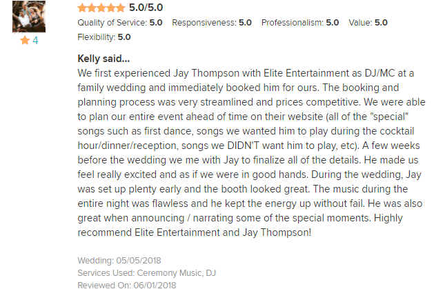 EliteEntertainment_WeddingWireReview_NJWedding_JayThomson 2018 5-5-18