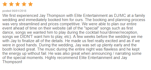 EliteEntertainment_WeddingWireReview_NJWedding_JayThomson 2018 6-1-18