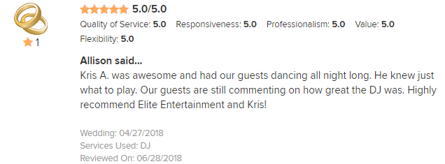 EliteEntertainment_WeddingWireReview_NJWedding_KrisAbrahamson 2018 4-28-18