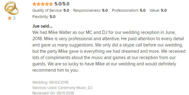 EliteEntertainment_WeddingWireReview_NJWedding_MikeWalter 2018 6-03-18