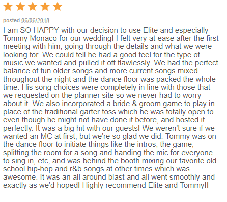EliteEntertainment_WeddingWireReview_NJWedding_TommyMonaco 2015 6-6-18