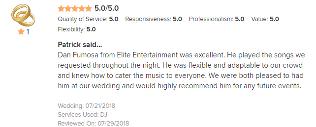 EliteEntertainment_WeddingWireReview_NJWedding_DanFumosa 2018 7-21-18