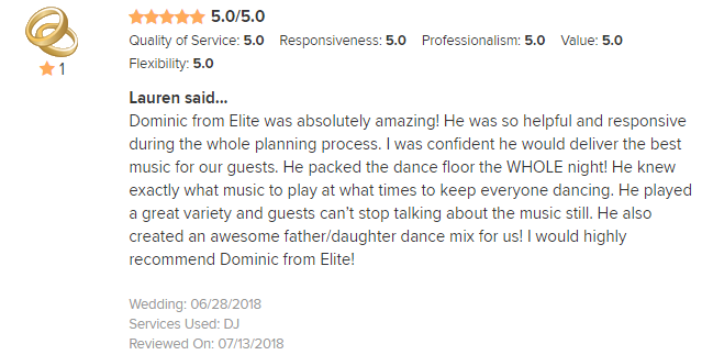EliteEntertainment_WeddingWireReview_NJWedding_DominicSestito 2018 6-28-18