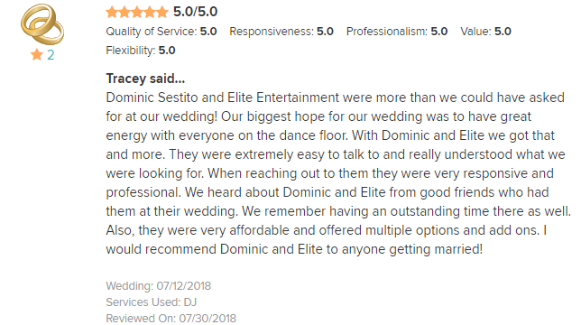 EliteEntertainment_WeddingWireReview_NJWedding_DominicSestito 2018 7-12-18