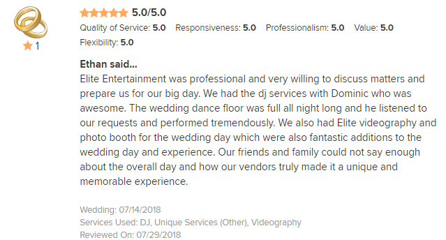 EliteEntertainment_WeddingWireReview_NJWedding_DominicSestito 2018 7-14-18