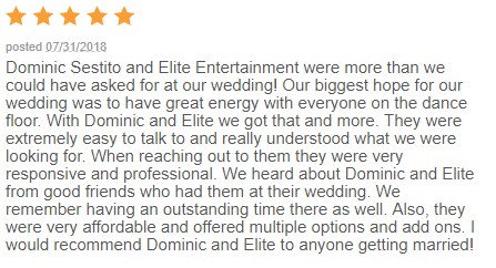 EliteEntertainment_WeddingWireReview_NJWedding_DominicSestito 2018 7-31-18