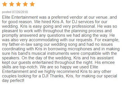 EliteEntertainment_WeddingWireReview_NJWedding_KrisAbrahamson 2018 7-26-18