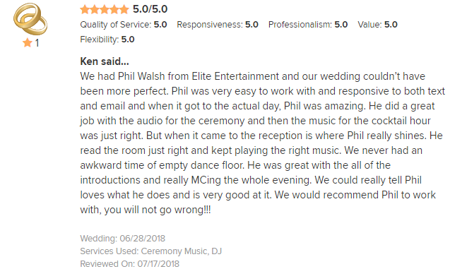 EliteEntertainment_WeddingWireReview_NJWedding_PhilWalsh 2018 6-28-18