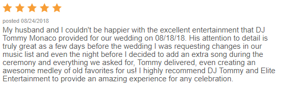 EliteEntertainment_WeddingWireReview_NJWedding_TommyMonaco 2015 8-18-18