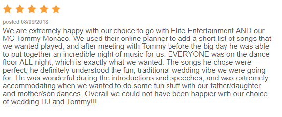 EliteEntertainment_WeddingWireReview_NJWedding_TommyMonaco 2015 8-9-18