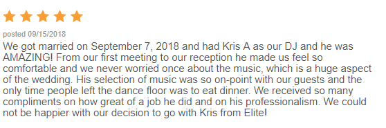 EliteEntertainment_WeddingWireReview_NJWedding_KrisAbrahamson 2018 9-07-18