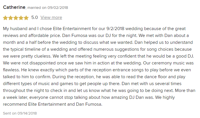 EliteEntertainment_WeddingWireReview_NJWedding_DanFumosa 2018 9-2-18