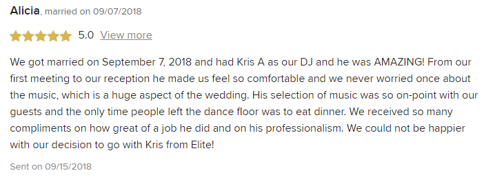 EliteEntertainment_WeddingWireReview_NJWedding_KrisAbrahamson 2018 9-7-18