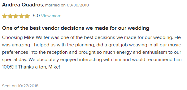 EliteEntertainment_WeddingWireReview_NJWedding_MikeWalter 2018 9-30-18