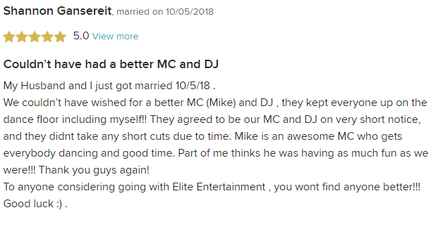 EliteEntertainment_WeddingWireReview_NJWedding_MikeWalter 2018 10-25-18