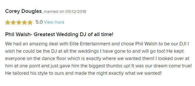 EliteEntertainment_WeddingWireReview_NJWedding_Phil Walsh 2018 5-12-18