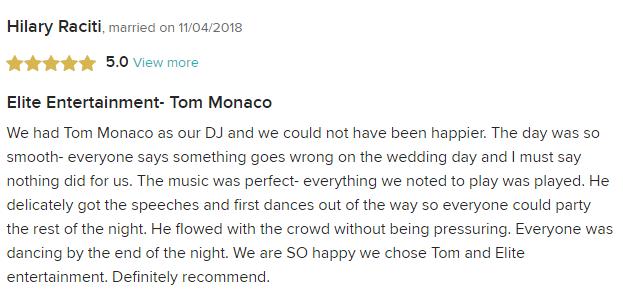 EliteEntertainment_WeddingWireReview_NJWedding_TommyMonaco 2018 11-04-18